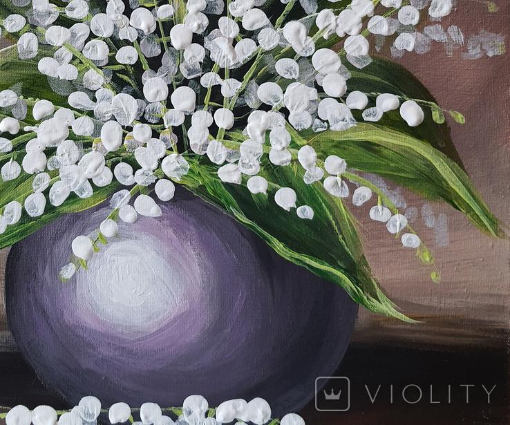 Картина, Конвалії, 25х30 см. Живопис на полотні, фото №5
