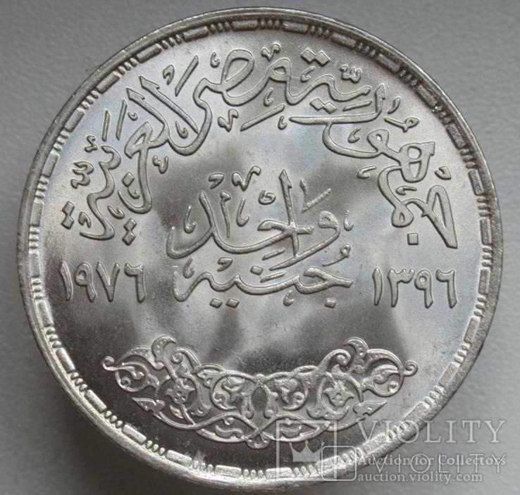 """1 фунт 1976 г. Египет """" ФАО """", серебро, фото №7"""