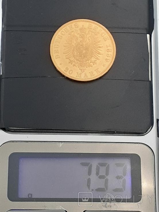 20 марок 1889. Пруссия. Золото., фото №3