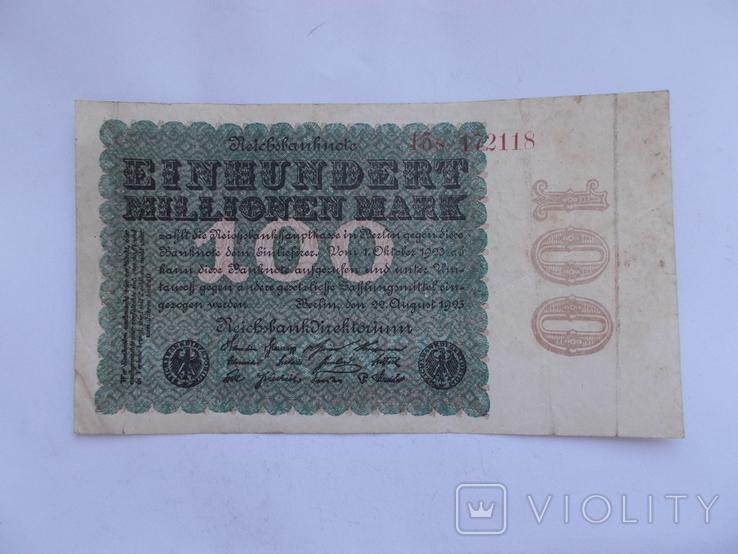100 миллионов марок 1923 г. - 2, фото №3