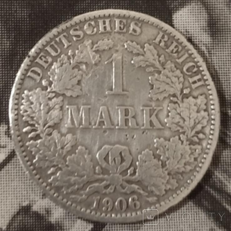 1 марк Германская Империя,1906год,А-А, серебро., фото №2