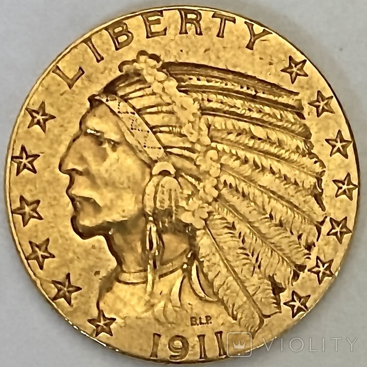 5 долларов. 1911. США (золото 900, вес 8,35 г), фото №3