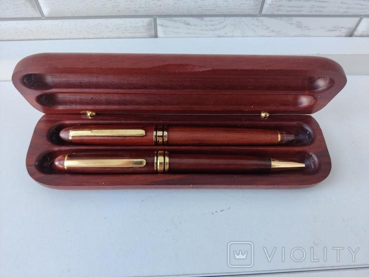 Деревяная шариковая и перьевая ручки в коробке с серебряной накладкой ( Италия ), фото №3