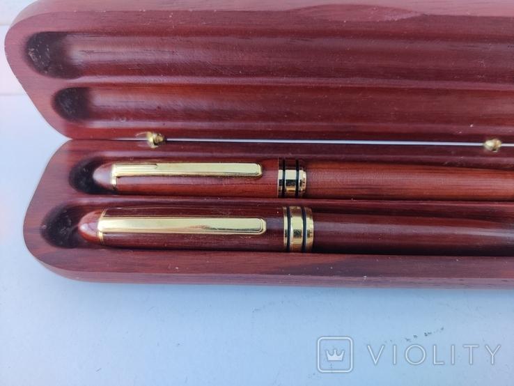 Деревяная шариковая и перьевая ручки в коробке с серебряной накладкой ( Италия ), фото №4
