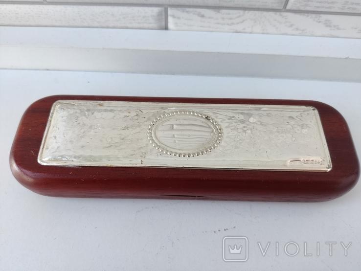 Деревяная шариковая и перьевая ручки в коробке с серебряной накладкой ( Италия ), фото №6