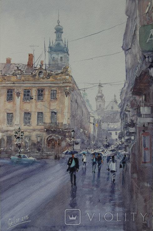 """Картина """"Львов, дождь"""". Микитенко Виктор"""