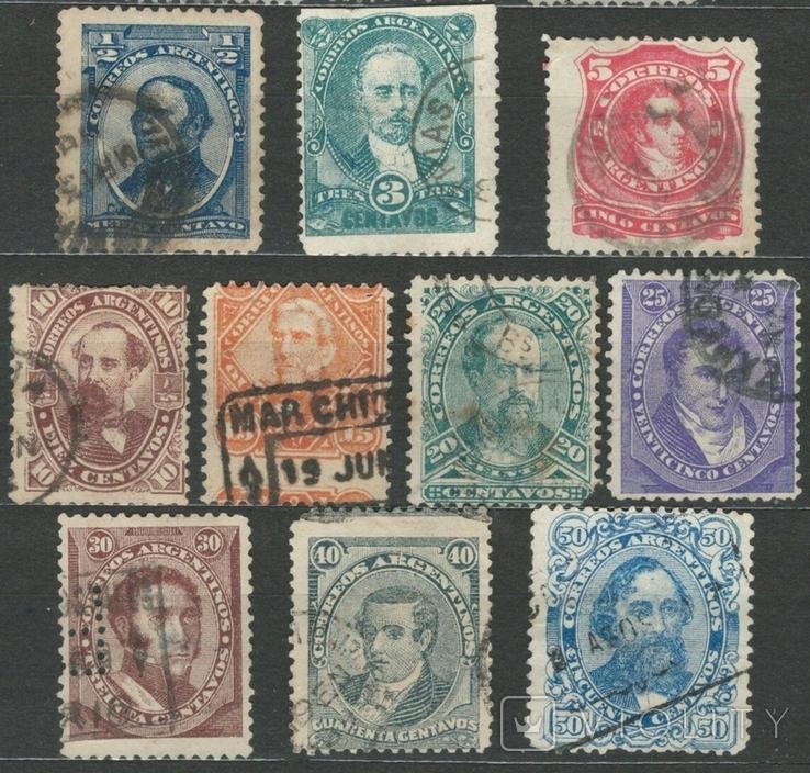 И07 Аргентина 1888 №№ 51, 53-54 и 56-62 (серия без 2 марок, с концовкой)