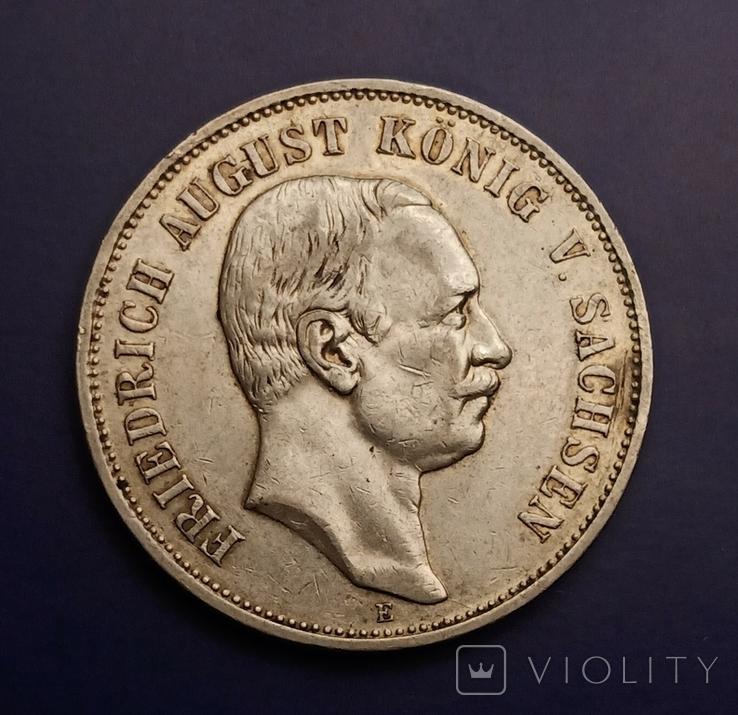 5 марок 1908 р. Саксонія. Фрідріх Август, фото №2