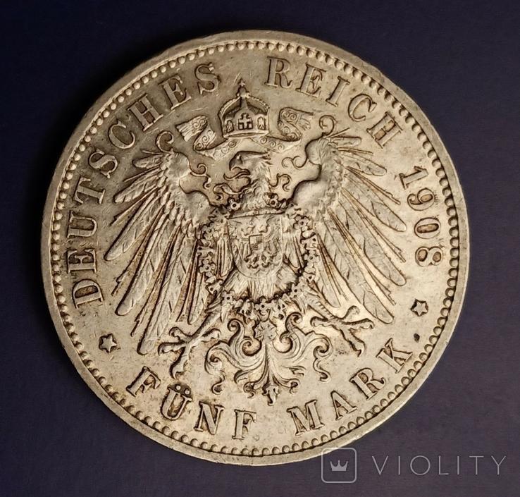 5 марок 1908 р. Саксонія. Фрідріх Август, фото №5