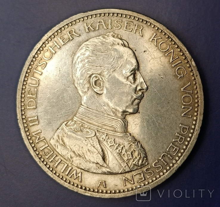 5 марок 1913 р. Вільгельм ІІ в мундирі, фото №2