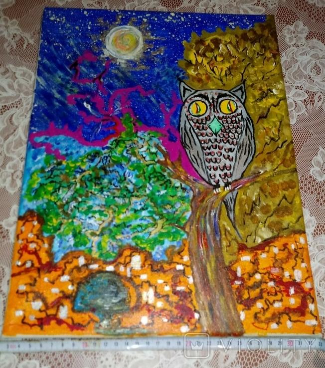 Картина сова и кот., фото №2