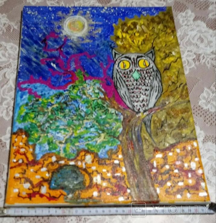 Картина сова и кот., фото №4