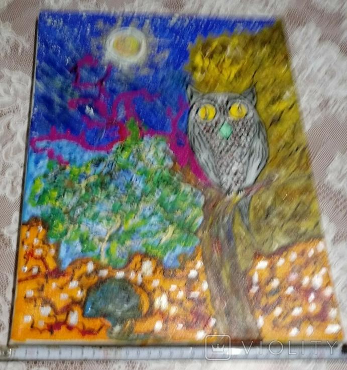 Картина сова и кот., фото №5