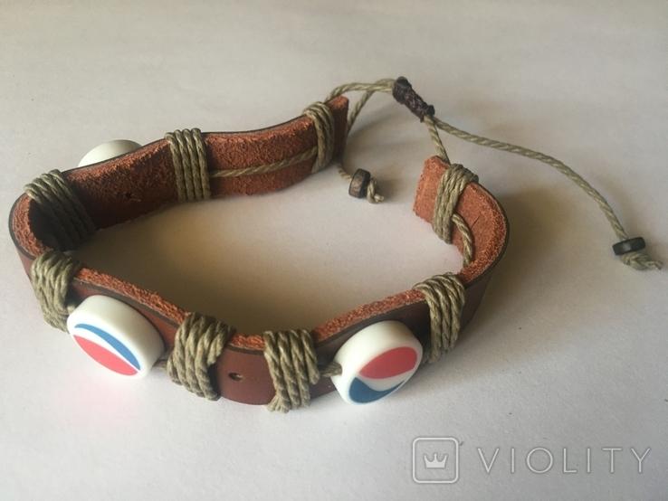 Кожаный браслет в стиле ПЕПСИ Фенечка PEPSI