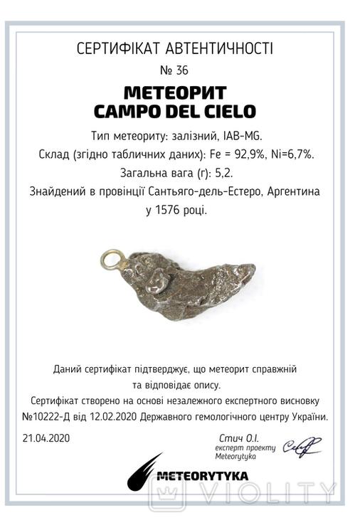 Кулон із залізного метеорита Campo del Cielo, із сертифікатом автентичності, фото №12