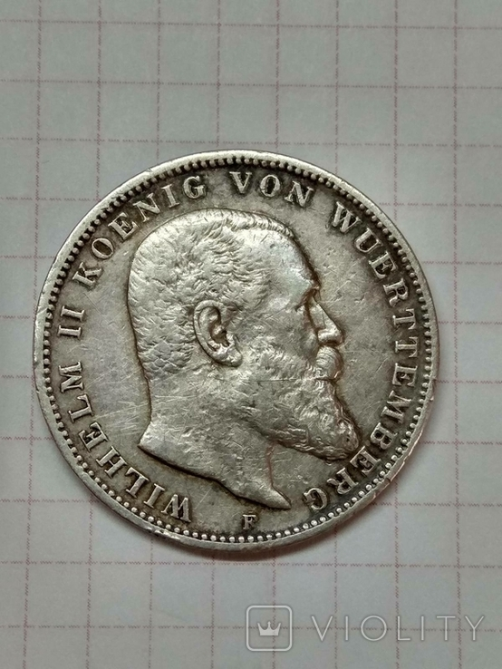 Германская империя, королевство Вюртемберг, 3 марки, 1909 год., фото №2