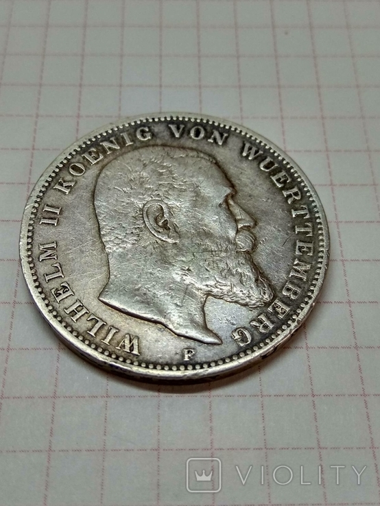 Германская империя, королевство Вюртемберг, 3 марки, 1909 год., фото №4