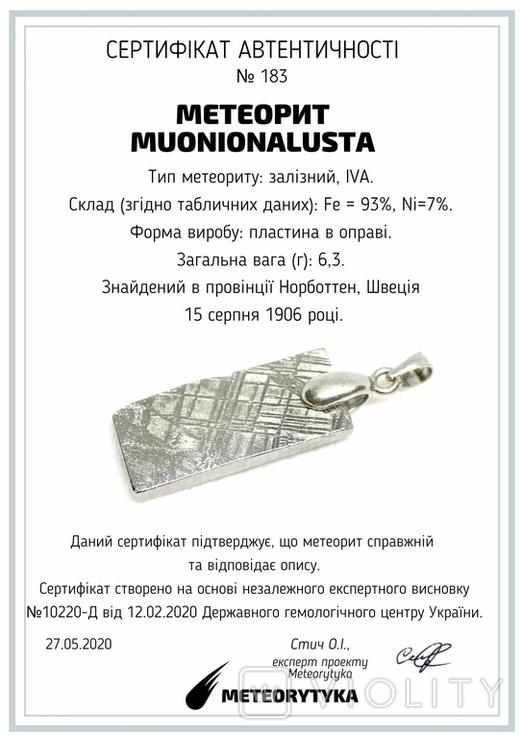 Родований кулон з метеорита Muonionalusta із срібною фурнітурою, сертифікат автентичності, фото №11