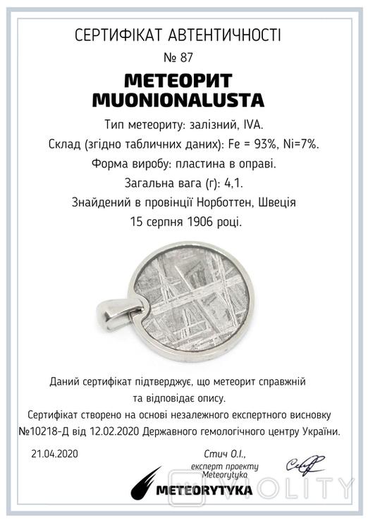 Підвіска із залізним метеоритом Muonionalusta, із сертифікатом автентичності, фото №13