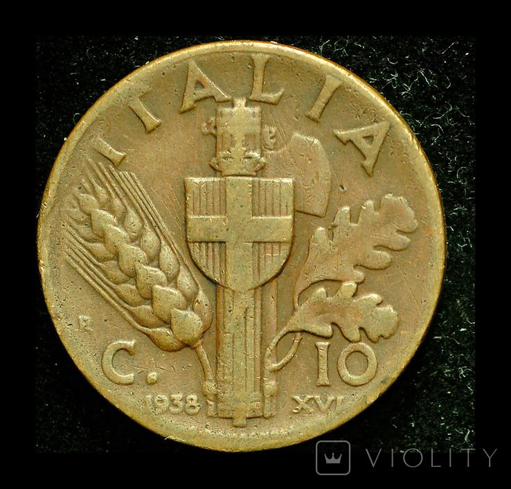 Италия 10 чентезими 1938, фото №2