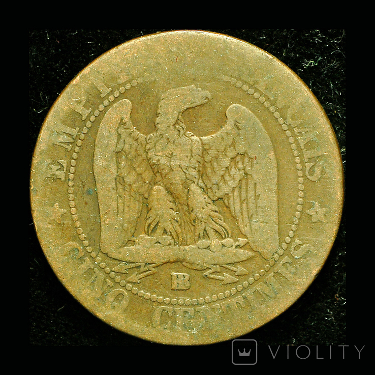 Франция 5 сентим 1853 ВВ, фото №2