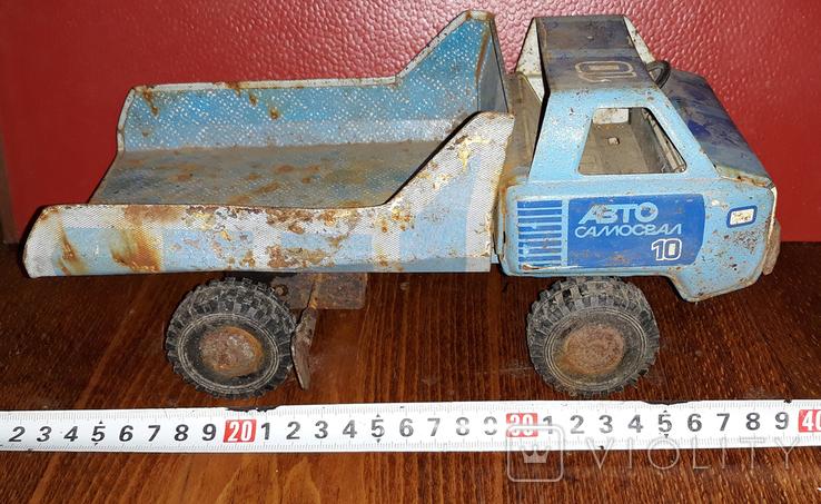 Игрушка СССР, грузовик, самосвал УРАЛ, заводная, жесть., фото №2