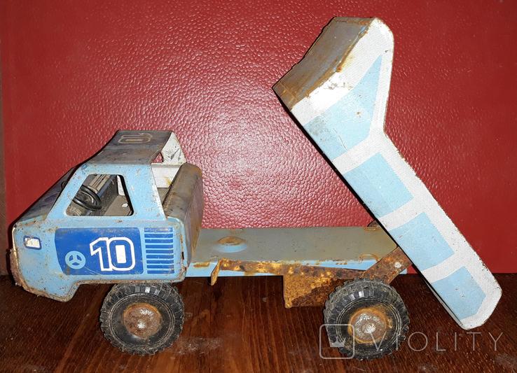 Игрушка СССР, грузовик, самосвал УРАЛ, заводная, жесть., фото №5