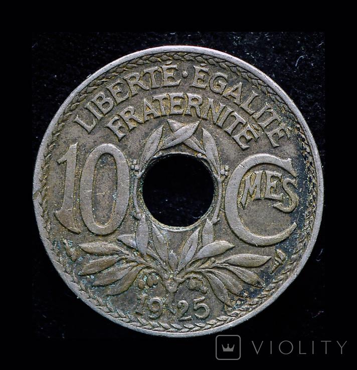 Франция 10 сантим 1925, фото №2