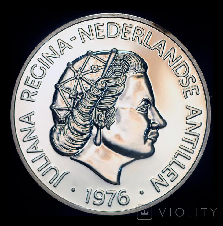 Нидерландские Антиллы 25 гульден 1976 пруф серебро 42.12 грамм 925 пробы, фото №3