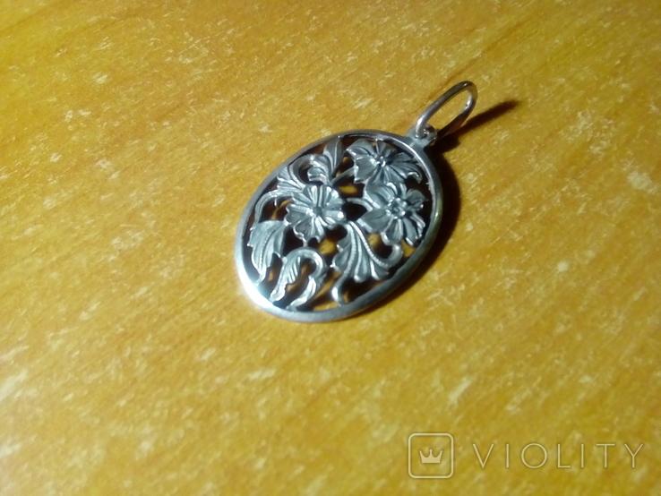 Підвіс квіти срібний СССР 875 овальний, фото №2