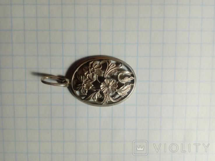 Підвіс квіти срібний СССР 875 овальний, фото №4