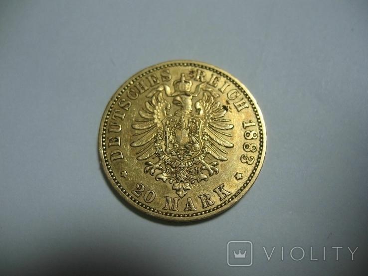 20 марок 1883 Германия Вильгельм, фото №6