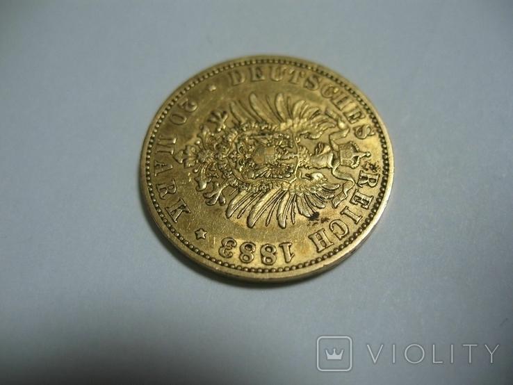 20 марок 1883 Германия Вильгельм, фото №7