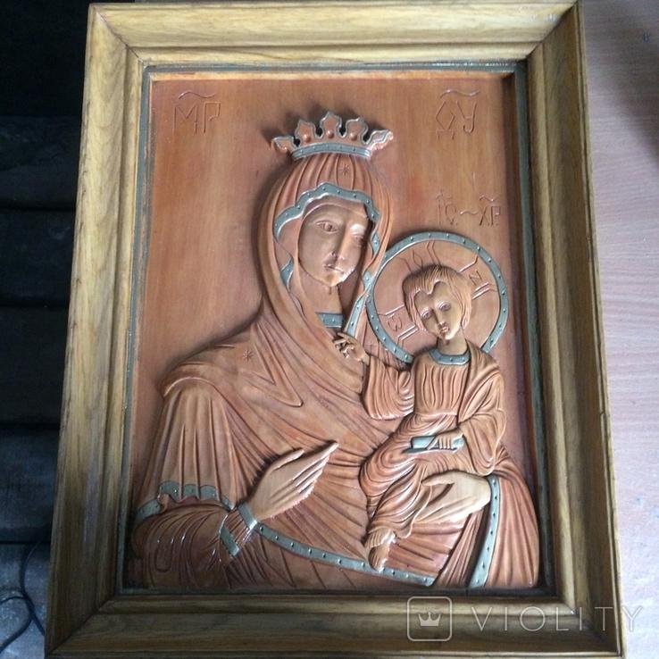 Деревяна ікона св Богородиці, фото №2