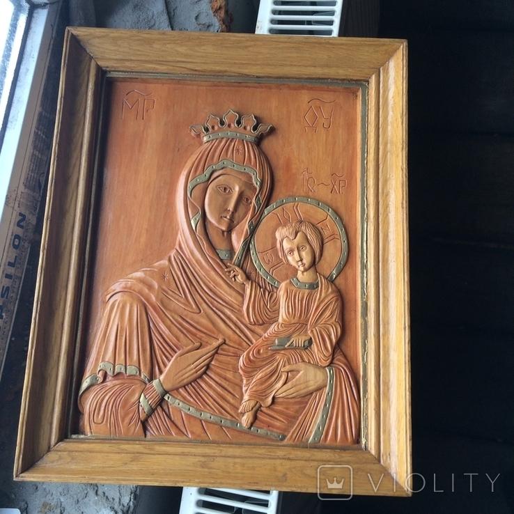 Деревяна ікона св Богородиці, фото №4