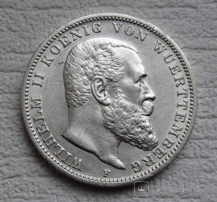 3 марки 1912 г., Вюртемберг, серебро, фото №3