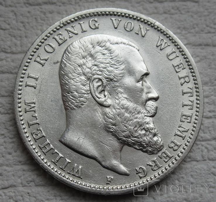 3 марки 1912 г., Вюртемберг, серебро, фото №2
