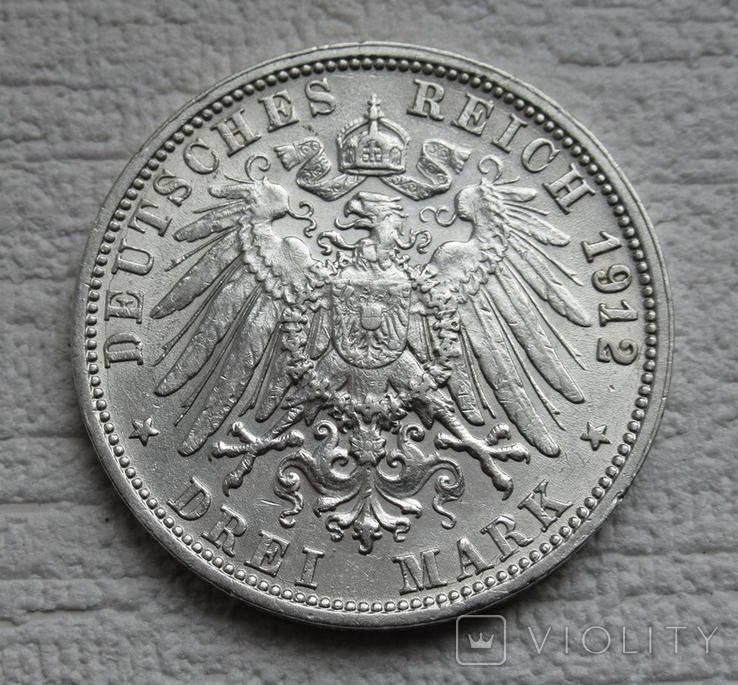 3 марки 1912 г., Вюртемберг, серебро, фото №12