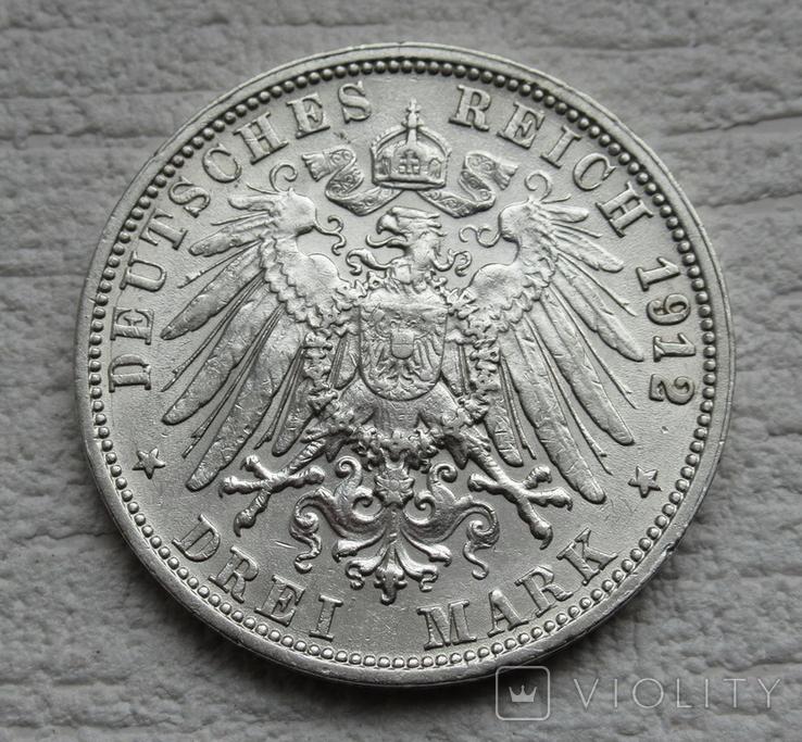 3 марки 1912 г., Вюртемберг, серебро, фото №13