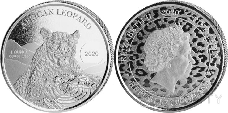 5 Седи 2020 Африканский леопард (Серебро 0.999, 31.1г) 1oz, Гана Унция