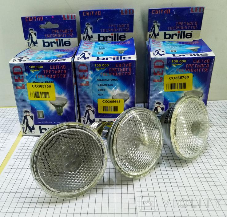 3шт Светодиодные лампочки Brille LED E27 новые, фото №5