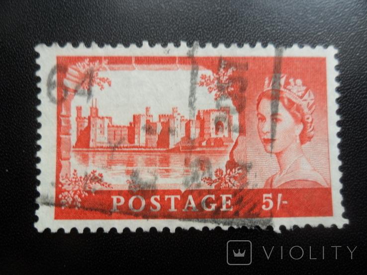 Великобритания. 1955 г. 5 шил. Красная. Каталог- 9,68 дол. США, фото №2