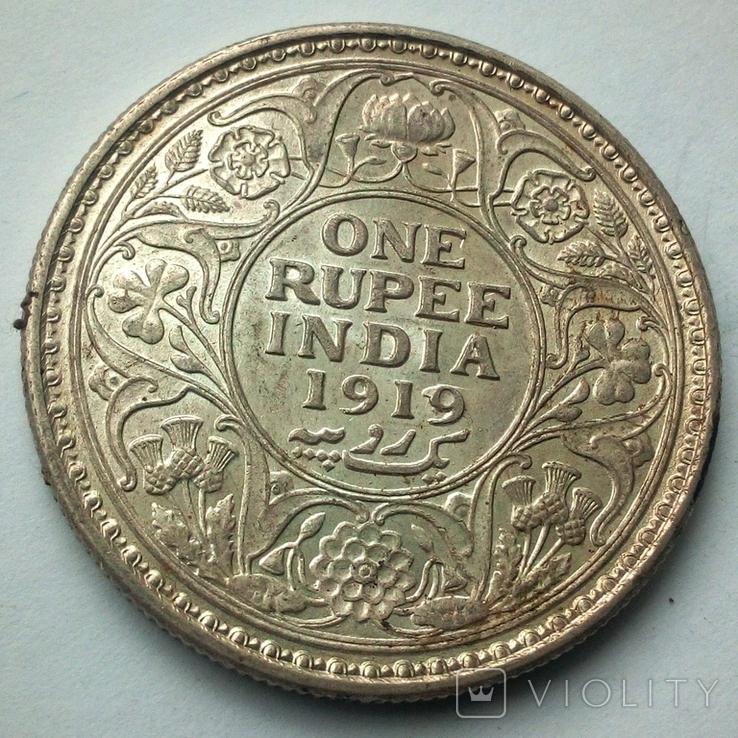Британская Индия 1 рупия 1919 г., фото №8