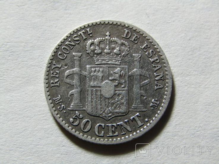 50 сентимов 1880 Испания, серебро, фото №2