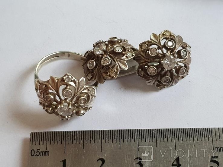 Набор кольцо + серьги. Серебро 925 проба. Размер кольца 16.5, фото №2
