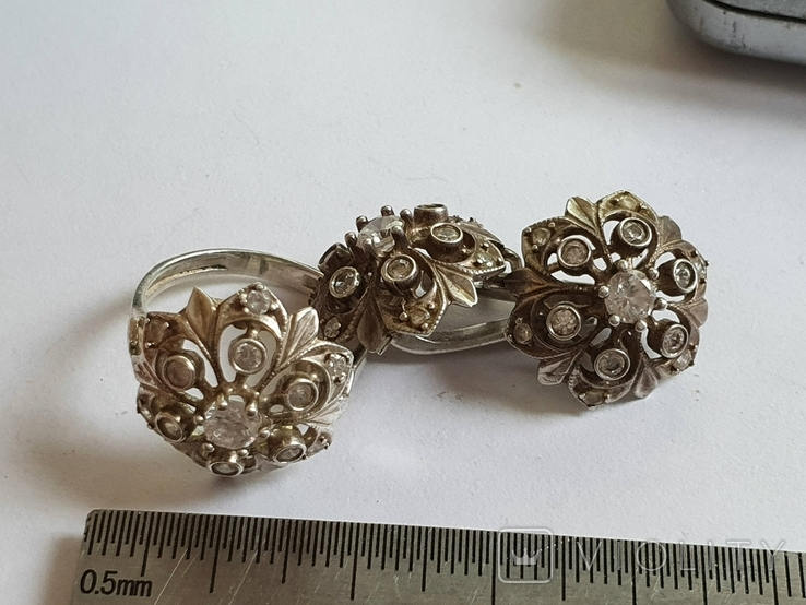 Набор кольцо + серьги. Серебро 925 проба. Размер кольца 16.5, фото №3
