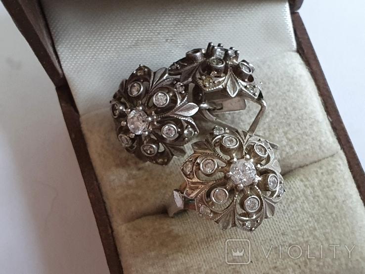 Набор кольцо + серьги. Серебро 925 проба. Размер кольца 16.5, фото №4