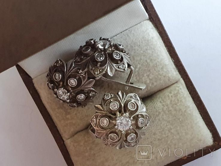 Набор кольцо + серьги. Серебро 925 проба. Размер кольца 16.5, фото №5
