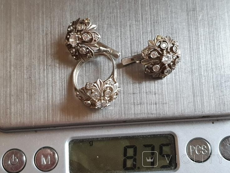 Набор кольцо + серьги. Серебро 925 проба. Размер кольца 16.5, фото №7