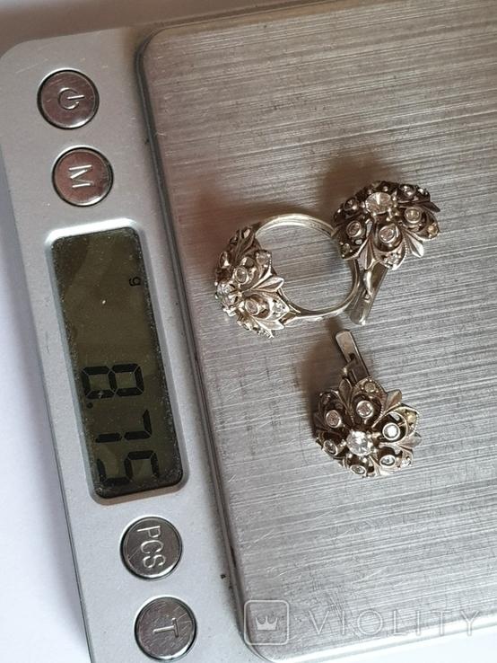 Набор кольцо + серьги. Серебро 925 проба. Размер кольца 16.5, фото №8